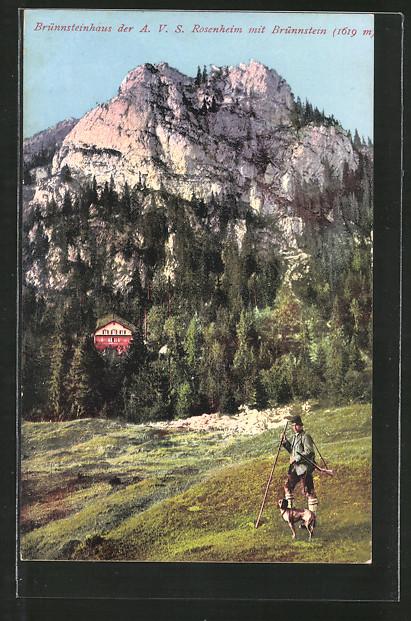 AK Brünnsteinhaus, Berghütte mit Brünnstein, Jäger mit Jagdhund
