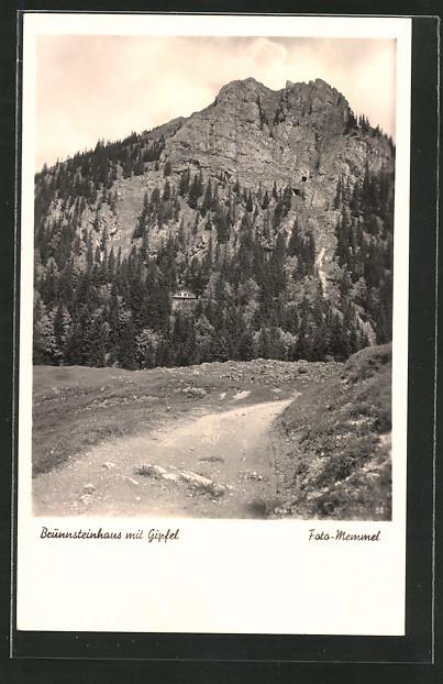 AK Brünnsteinhaus, Berghütte mit Gipfel