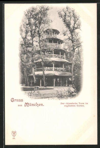 AK München-Schwabing, Der chinesische Turm im englischen Garten