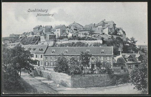 AK Quedlinburg, Blick auf den Münzberg, Langenbergstrasse Ecke Wipertistrasse