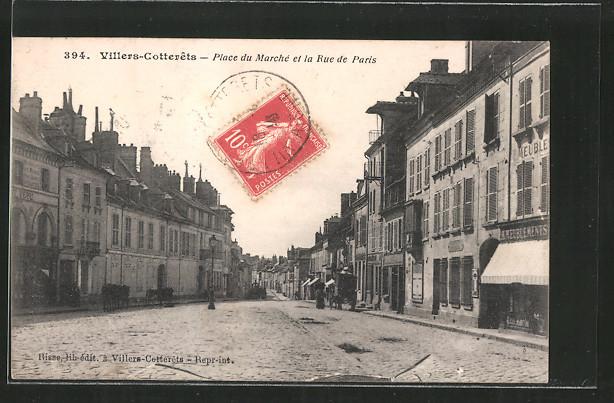 AK Villers-Cotterets, Place du Marché et la Rue de Paris