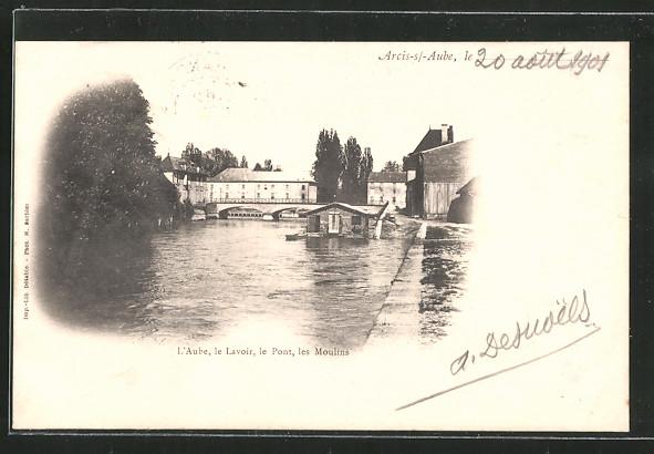 AK Arcis-sur-Aube, le Lavoir, le Pont, les Moulins