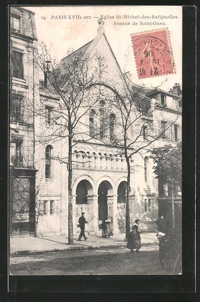 AK Paris, Eglise St-Michel-des-Batignolles, avenue de Saint-Ouen