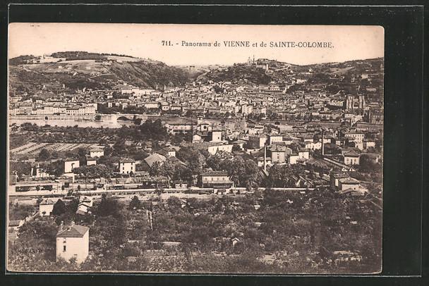 AK Sainte-Colombe-lés-Vienne, vue générale et la gare