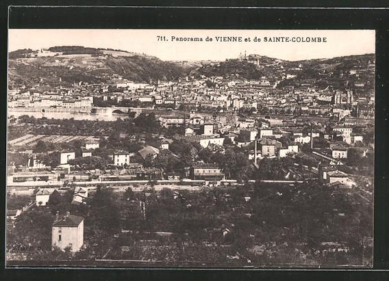 AK Sainte-Colombe-lés-Vienne, vue panoramique et la gare