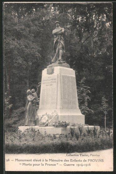 AK Provins, monument élevé á la mémoire des enfants