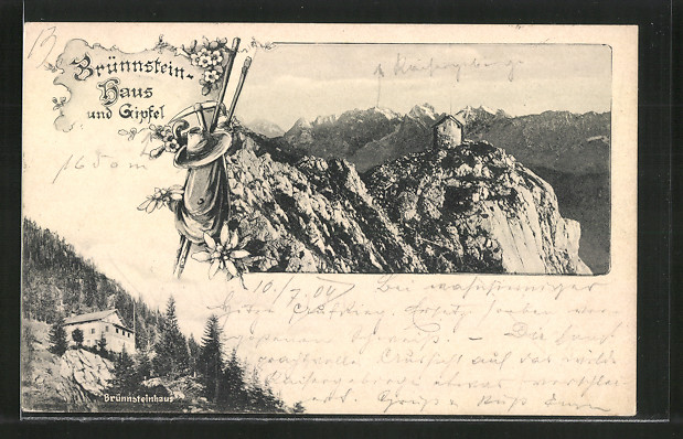 AK Brünnsteinhaus, Berghütte mit Blick zum Gipfel
