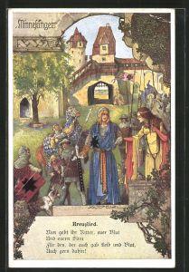 Künstler-AK T. Welzl: Deutsche Minnesänger, Hartmann von Aue, Kreuzlied, Maid und Ritter