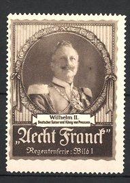 Reklamemarke Aecht Franck Kaffee, Portrait Kaiser Wilhelm II. in Uniform