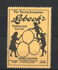 Reklamemarke Lobeck's Schokolade, Marke Dreiring, Kinder spielen mit Reif