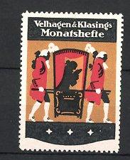 Reklamemarke Velhagen & Klasings Monatshefte, Adliger in Sänfte sitzend