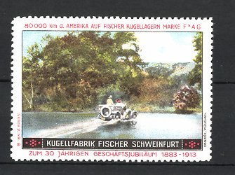 Reklamemarke Schweinfurt, Kugel Fabrik Fischer, Fischer Cabrio, Auto mit FAG-Kugellager bei Wasserdurchfahrt