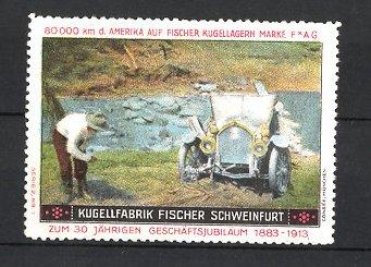 Reklamemarke Schweinfurt, Kugel Fabrik Fischer, Fischer Cabrio, Auto festgefahren nach Flussdurchfahrt