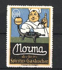 Reklamemarke Nouma Spiritus-Gaskocher, Koch & Gaskocher
