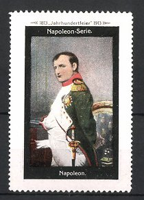 Reklamemarke Befreiungskriege, Portrait Kaiser Napoleon Bonaparte in Uniform