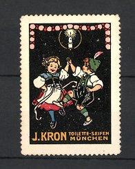 Reklamemarke München, Toilette-Seife J. Kron, bayerisches Tanzpaar in Tracht