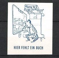 Künstler-Reklamemarke Heidemann, Hier fehlt ein Buch, Fahrgast im Zugabteil schaut sich gelangweilt Kuhherde an