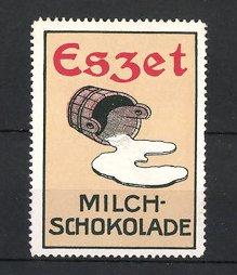 Reklamemarke Eszet Milch-Schokolade, umgekippter Eimer Milch