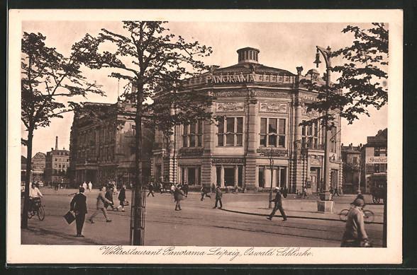 AK Leipzig, Weltrestaurant Panorama, Rundbau, O. Schlinke
