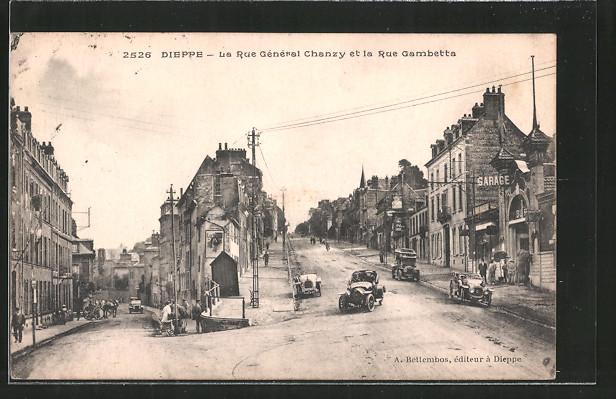 AK Dieppe, La Rue Général Chanzy et la Rue Cambetta