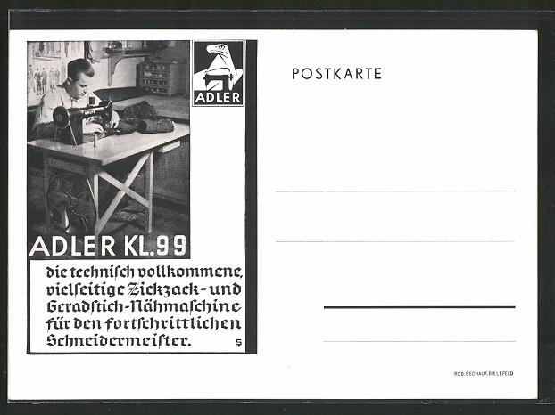 AK Reklame für Nähmaschine Adler Kl. 99