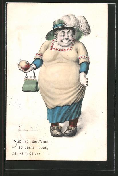 AK übergewichtige Frau hält einen Apfel in der Hand, frauenfeindlicher Humor