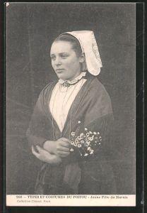 AK Types et Costumes du Poitou, Jeune Fille du Marais, Mädchen in Tracht
