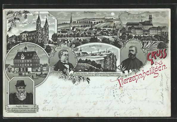 Mondschein-Lithographie Vierzehnheiligen, Basilika, Schloss Banz. Staffelberg, Victor v. Scheffel, F. Antonius