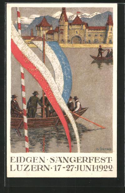Künstler-AK Luzern, 23. Eidg. Sängerfest 1922, Sänger fahren mit Ruderbooten