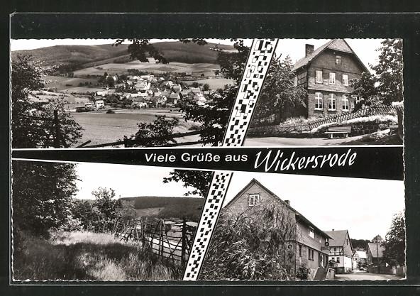 AK Wickersrode, Gaststätte Zur Post, Ortsansicht