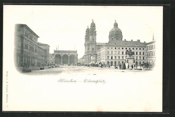 AK München, Odeonsplatz mit Passanten