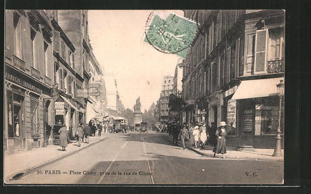 AK Paris, Place Clichy prise de la rue de Clichy