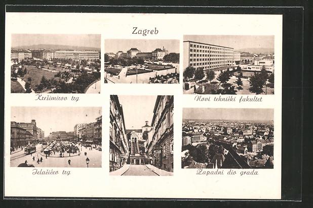 AK Zagreb, Kresimirov trg, Jelacicev trg und Zapadni dio grada