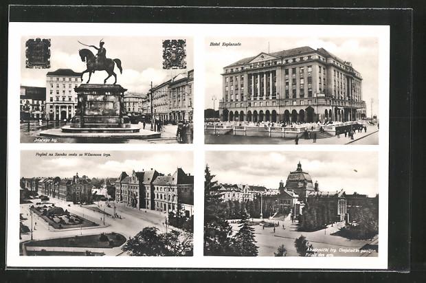 AK Zagreb, Hotel Esplanade, Jelacicev trg und Akademicki trg. Umjetnicki paviljon