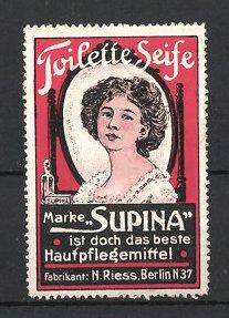 Reklamemarke Berlin, Supina Toilette-Seife, N. Riess, Mädchen vor Schminkspiegel