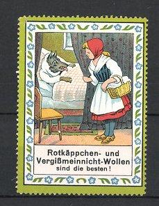 Reklamemarke Rotkäppchen & Vergissmeinnicht-Wollen, Rotkäppchen & der Wolf im Bett der Grossmutter