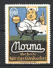 Reklamemarke Nouma Spiritus Gaskocher, Koch preist Gaskocher an