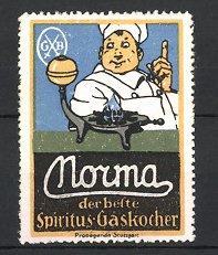 Reklamemarke Nouma Spiritus Gaskocher, Koch mit Gaskocher
