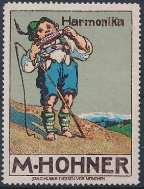 Reklamemarke M. Hohner Harmonika, bayerischer Knabe spielt auf Mundharmonika