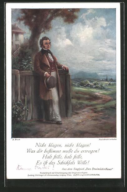 Künstler-AK Komponist Franz Schubert, Das Dreimäderlhaus