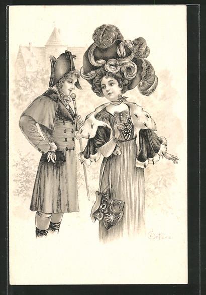 Künstler-AK E. Bottaro: junger Kavalier flirtet mit einer Dame