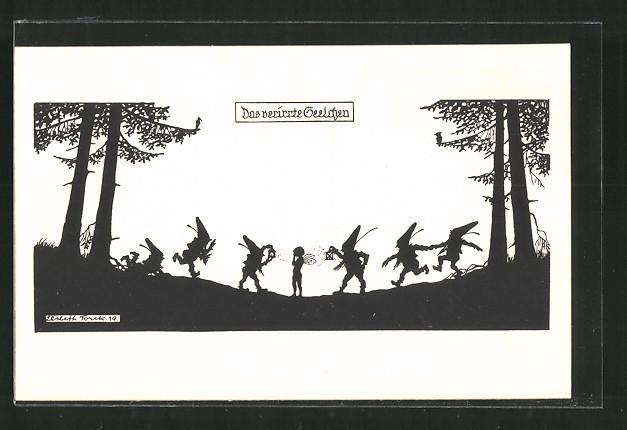 Künstler-AK Elsbeth Forck: Das verirrte Seelchen, Zwerge leuchten eine Elfe mit Laternen an, Schattenbild