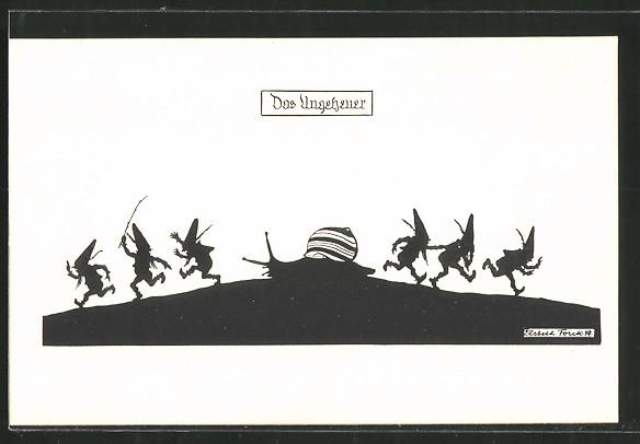Künstler-AK Elsbeth Forck: Das Ungeheuer, Zwerge fliehen vor einer Schnecke, Schattenbild