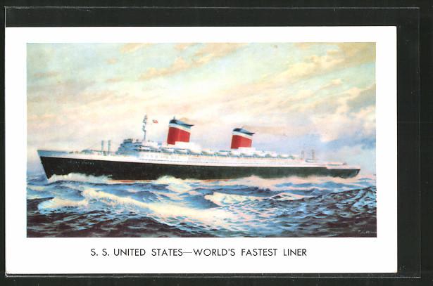 AK Passagierschiff SS United States, World's fastest Liner