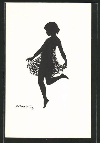 Künstler-AK Elsbeth Forck: Mädchen tanzt einen Schleiertanz, Schattenbild