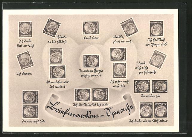 AK Briefmarken-Sprache von Ich denke stets an Dich bis Ich denke nur an Dich allein