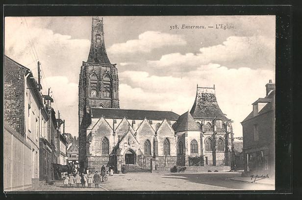 AK Envermeu, l'église, Kinder vor Kirche