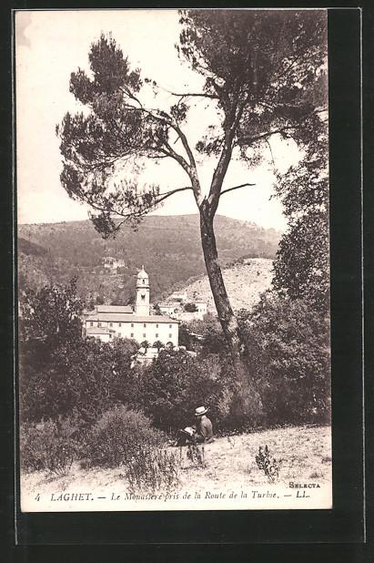 AK Laghet, Le Monastère pris de la Route de la Turbie, Blick zum Mönchskloster