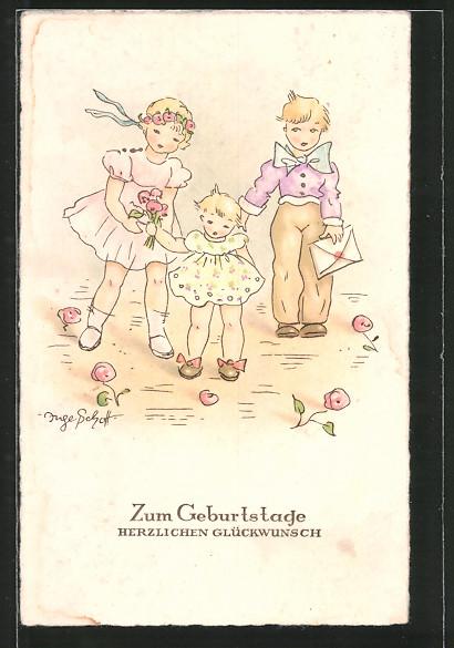 Künstler-AK Inge Schott: Geburtstagsgruss - Kinder mit Blumen und Glückwunschbrief