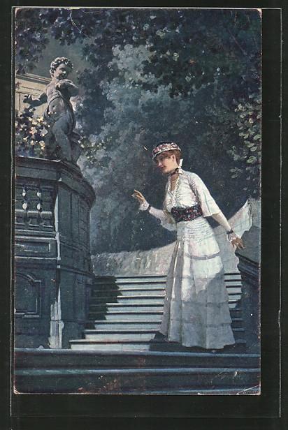 Künstler-AK Adolf Liebscher: Er kommt schon - Junge Frau wartet im Park auf ihren Liebsten